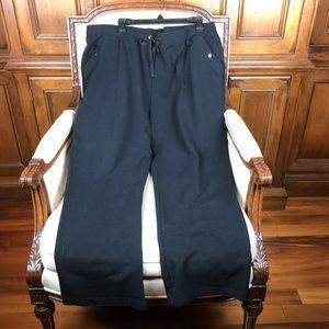 Karen Scott Sport Black Cotton Drawstring Pants 2X